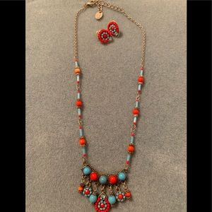 Faux turquoise and coral necklace and earrings set